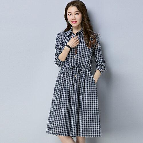 黑白條紋襯衫棉麻連身裙(3色M~2XL)*ORead* 0