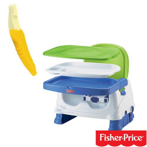 【奇買親子購物網】費雪牌 Fisher-Price寶寶小餐椅+香蕉固齒器/幼兒牙刷/香蕉牙刷 1-2歲