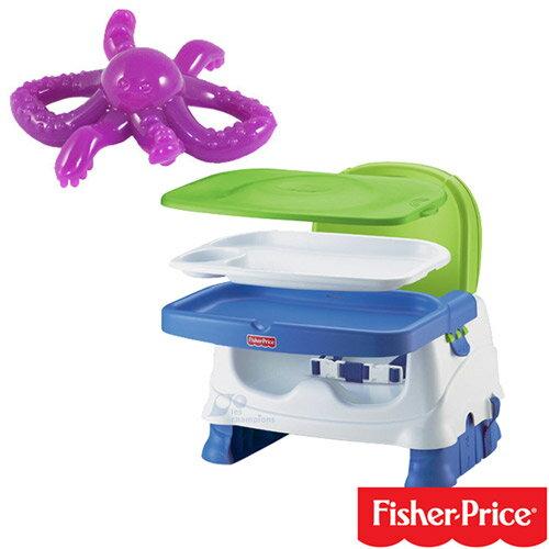 【奇買親子購物網】費雪牌Fisher-Price寶寶小餐椅+幼兒學習軟性章魚牙刷(可當固齒器使用)