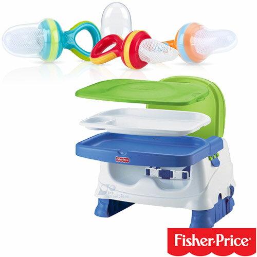 【奇買親子購物網】費雪牌 Fisher-Price寶寶小餐椅+Nuby 鮮果園系列蔬果棒(圈圈款)
