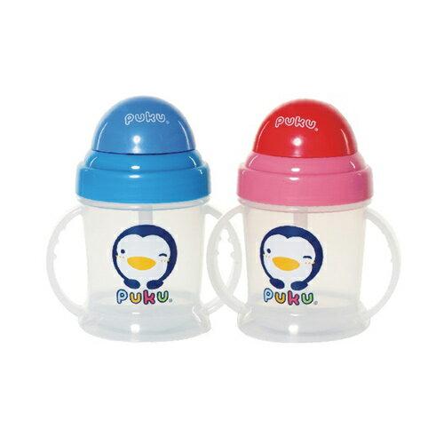【奇買親子購物網】藍色企鵝 PUKU Petit 矽膠滑蓋吸管練習杯-(紅色/藍色)