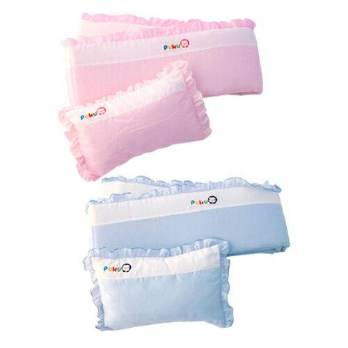 【奇買親子購物網】藍色企鵝 PUKU Petit 嬰兒床護圍枕頭組