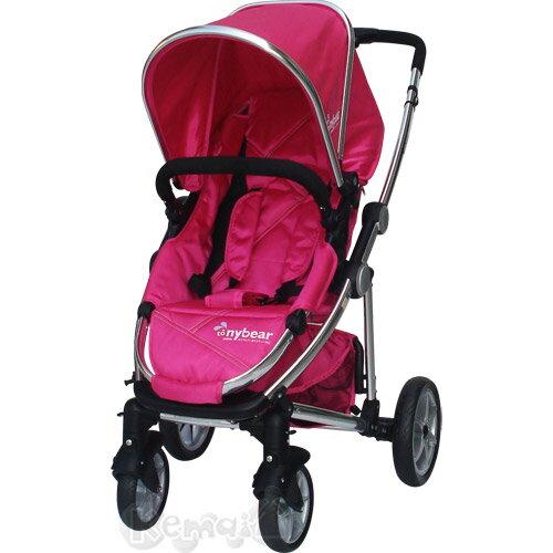 【奇買親子購物網】湯尼熊 Tony Bear U型RV雙向嬰兒推車(黑/桃紅)
