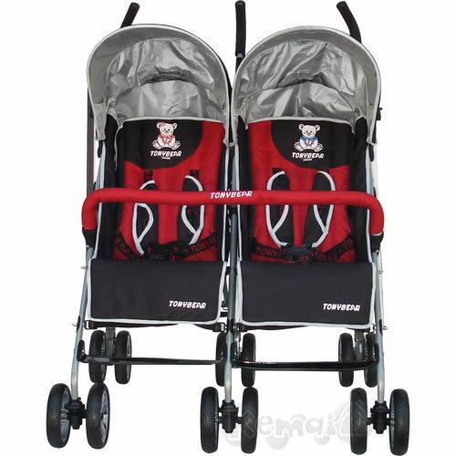 【奇買親子購物網】湯尼熊 Tony Bear 典雅豪華併排嬰兒傘車(紅黑)