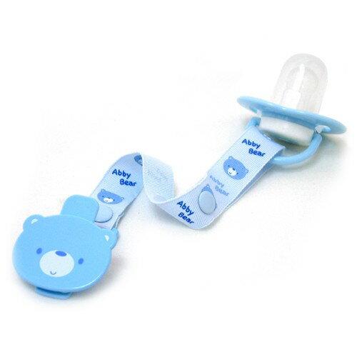 【奇買親子購物網】艾比熊圓形安撫奶嘴+調整型奶嘴夾