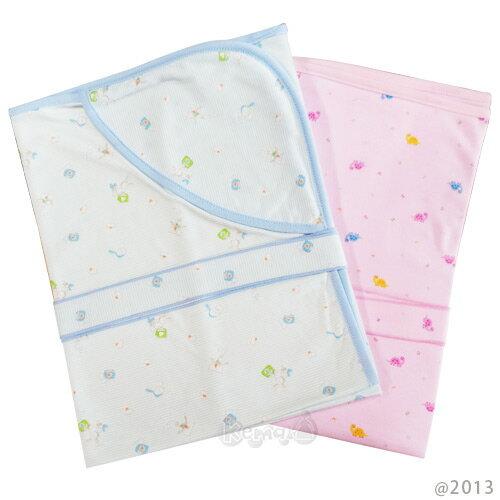 【奇買親子購物網】舒適牌 SCHICK 夏季純棉抱毯包巾(藍/粉)