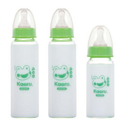 【奇買親子購物網】哈皮蛙 標準口徑玻璃奶瓶組2+1