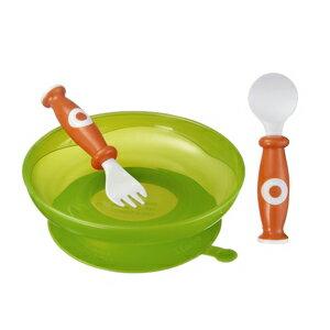 【奇買親子購物網】小獅王辛巴simba吸盤學習餐具組-(橘/綠)