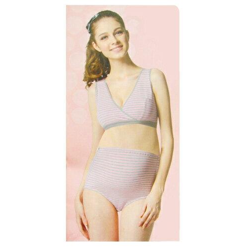 【奇買親子購物網】妮妮NiNi 交叉式條紋休閒哺乳內衣(粉/黃)