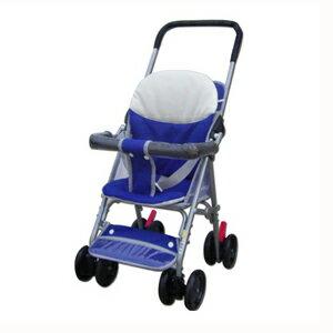 【奇買親子購物網】BabyBabe輕便型附睡墊手推車-(藍紅)