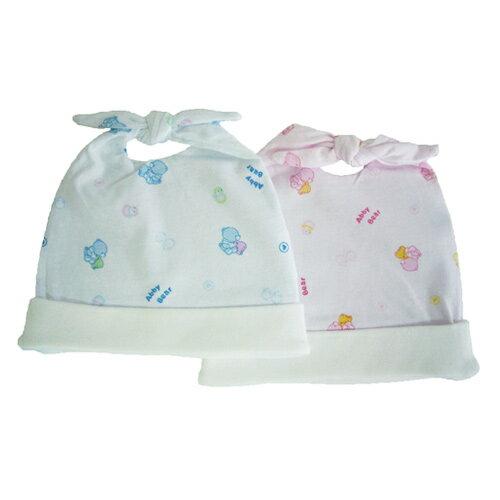 【奇買親子購物網】艾比熊雙結初生帽-(藍粉)