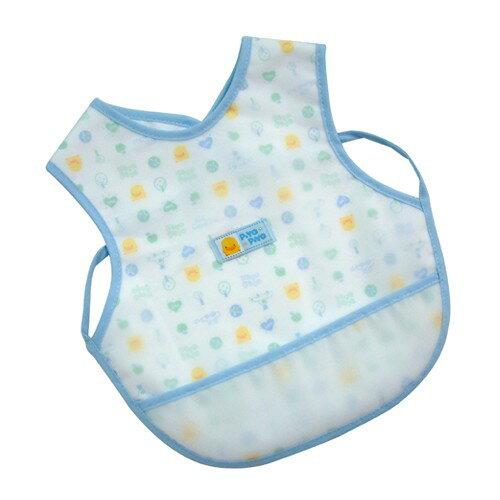【奇買親子購物網】黃色小鴨雙層防水圍兜(水藍粉紅)