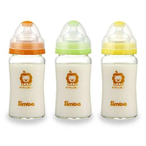 【奇買親子購物網】小獅王辛巴simba超輕鑽寬口雙凹玻璃大奶瓶240ml