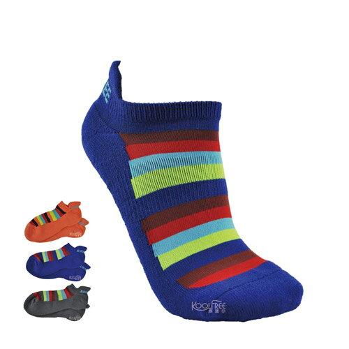 【奇買親子購物網】旅行家koolfree防黴排汗毛圈護踝船型襪-寬彩條