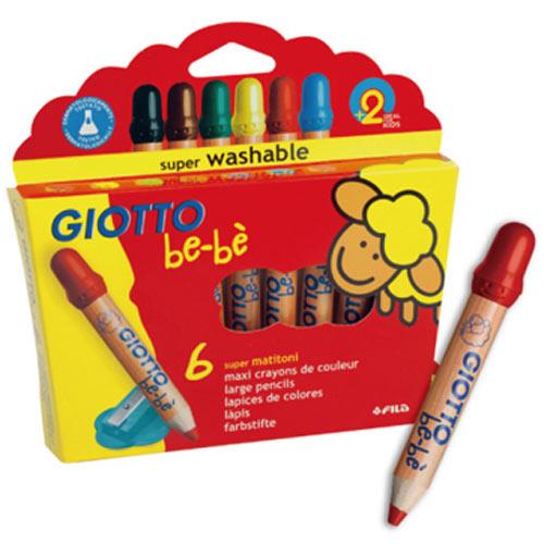 【奇買親子購物網】GIOTTO BEBE 可洗式寶寶木質蠟筆(6色)