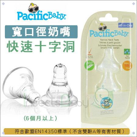 +蟲寶寶+美國【Pacific Baby】美國寬口徑防漏防脹氣奶嘴2入組(3款)_快速十字孔(6個月以上)《現+預》