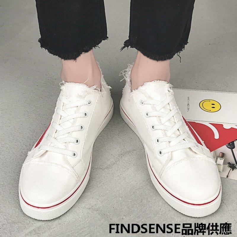 FINDSENSE品牌 四季款 新款 日本 男 高品質 簡約文藝 清新 帆布鞋 休閒 舒適透氣  輕便休閒鞋 潮流鞋子