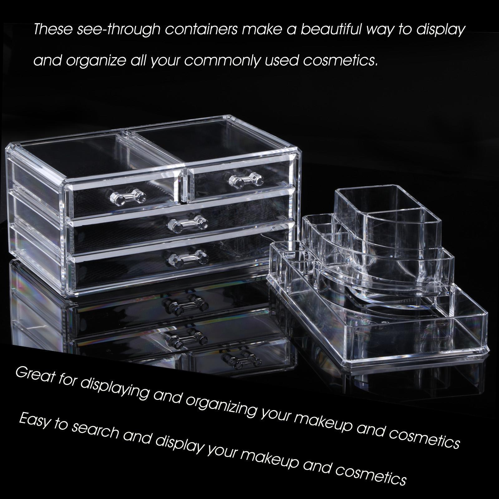 Acrylic Makeup Drawers Grids 3 Tiers Display 1