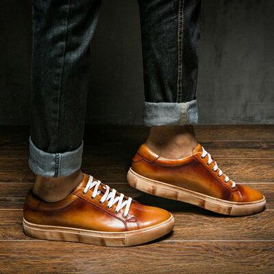 短靴真皮繫帶靴子-街頭時尚復古做舊男靴2色73kk107【獨家進口】【米蘭精品】
