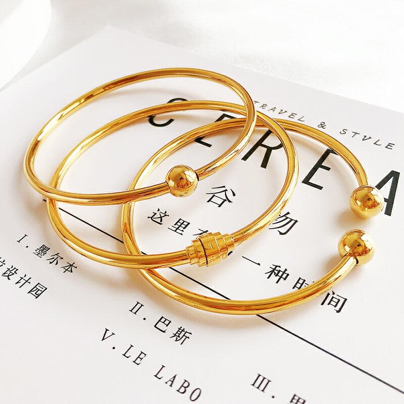 鍍金開口手環拋光亮面串穿珠手鐲鈦鋼密碼diy手鏈沙金古法鐲子女