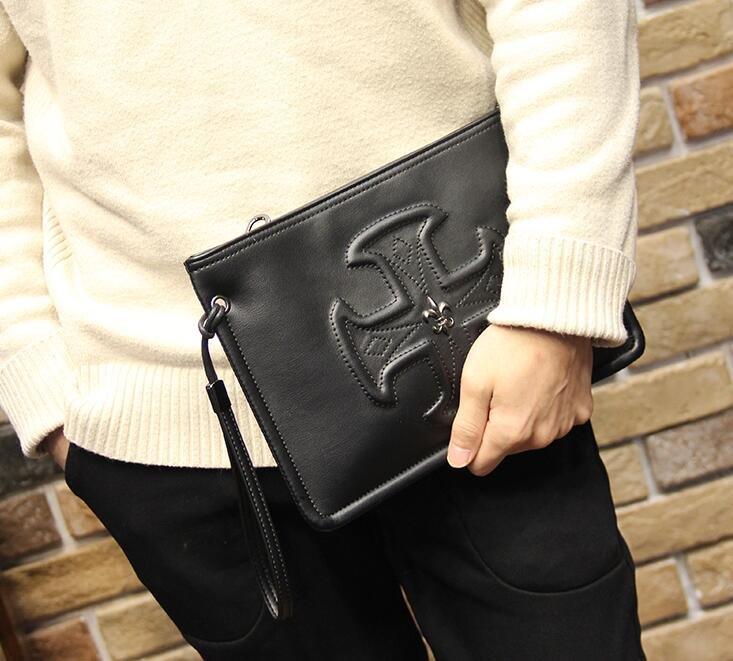 FINDSENSE Z1 韓國 時尚 潮 男 黑色 皮質 十字圖案 休閒 手拿包 皮夾包 公事包