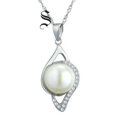 925純銀項鍊 珍珠吊墜~別緻鑲鑽精美 生日情人節 女飾品73dh5~ ~~米蘭 ~