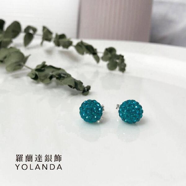 【羅蘭達銀飾】925純銀。寶綠色圓型水鑽耳環。糖果潮流。