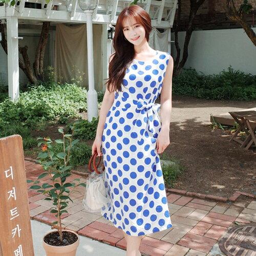 PS Mall 復古顯瘦無袖點點甜美連身裙 開叉無袖背心長版洋裝【T655】 - 限時優惠好康折扣