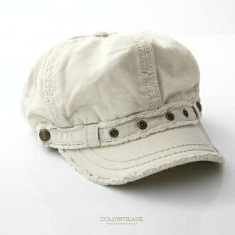 鴨舌帽 韓版潮流毛邊造型米白色棉質帽 輕巧好搭配 小偷帽/貝蕾帽 柒彩年代【NH187】透氣舒適