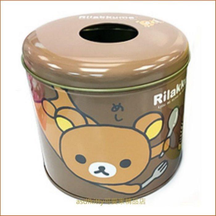 asdfkitty可愛家☆拉拉熊咖啡色鐵製捲筒衛生紙收納罐-韓國製