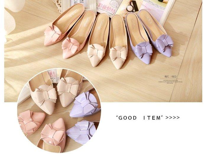【Pyf】粉嫩色 包頭拖鞋 甜美蝴蝶結 漆皮尖頭 平底半拖鞋 42 43 大尺碼女鞋
