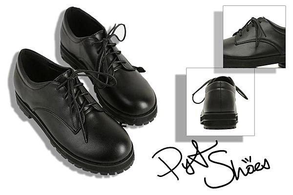 Pyf♥韓系學院復古風鬆糕厚底休閒鞋黑色工作鞋40-43加大尺碼女鞋
