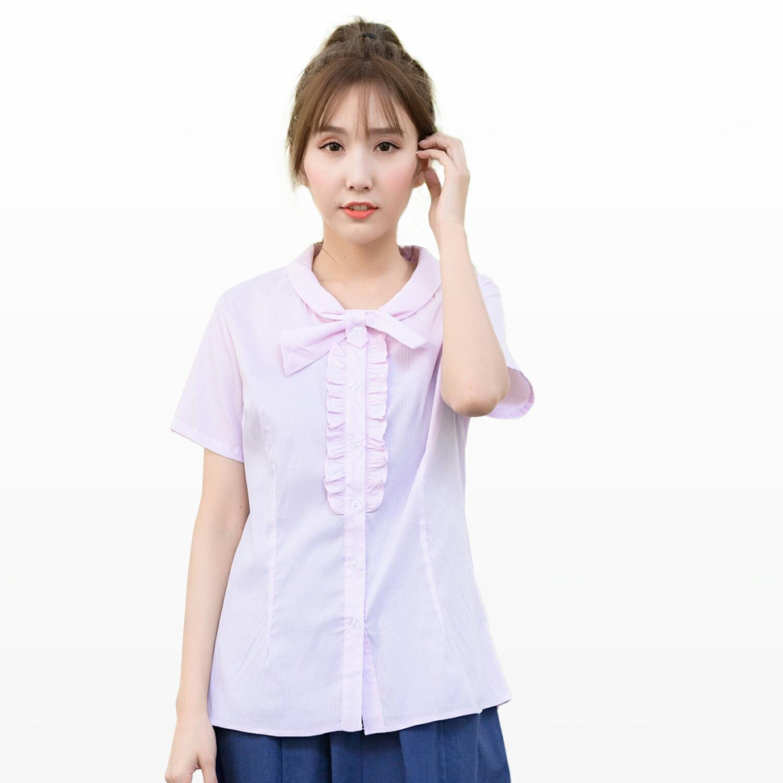 襯衫--OL首選專業自信胸前荷葉邊設計蝴蝶領扣彈性短袖襯衫(白.粉M-4L)-H176眼圈熊中大尺碼 1