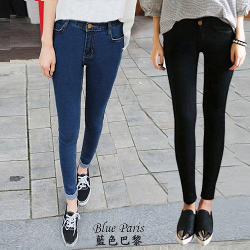 牛仔褲 - 修身顯瘦彈力單寧鉛筆褲 窄管褲 長褲 【23243】藍色巴黎《2色: M~L》現貨 0
