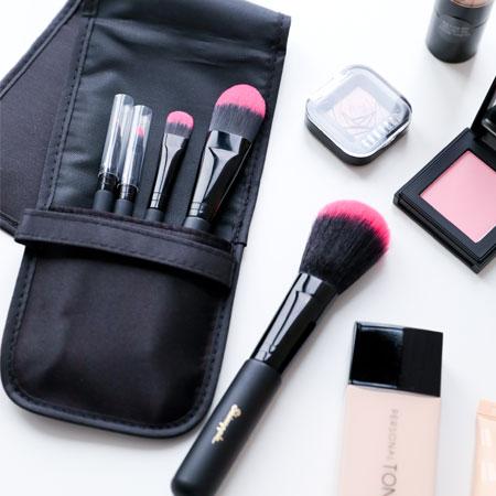 韓國Skinapple五件式化妝刷具曜石黑(附袋)腮紅刷蜜粉刷修容刷眼影刷化妝彩妝刷具組刷子【N203056】