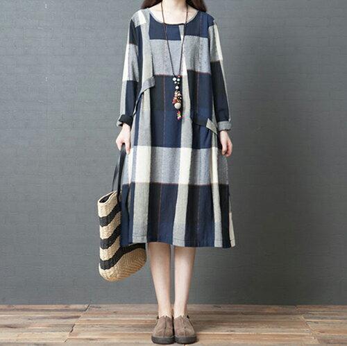 *ORead*格子純棉長款連身裙(3色M~2XL) 0