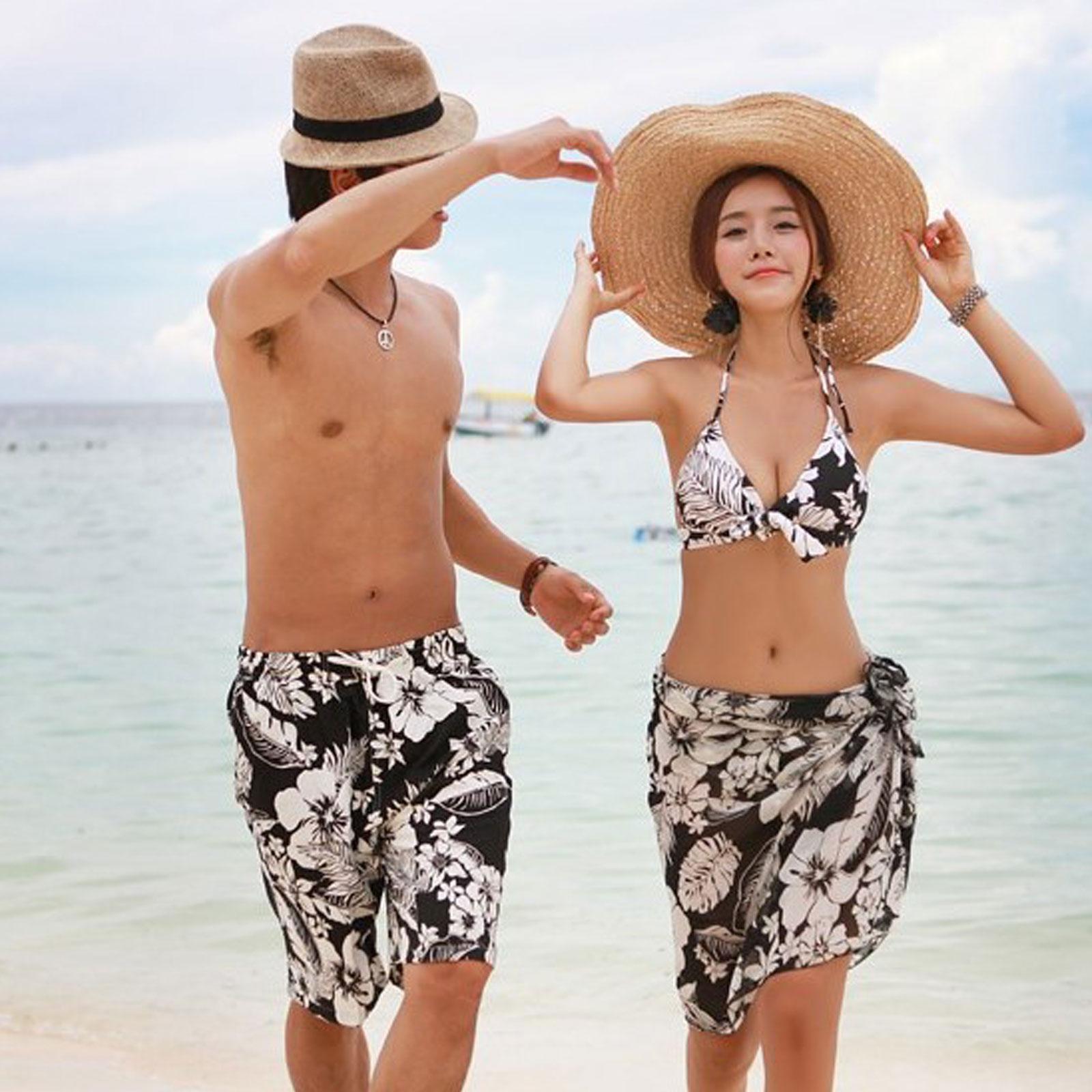 比基尼 扶桑花綁帶三件套海灘情侶泳裝【O3394】☆雙兒網☆ 1