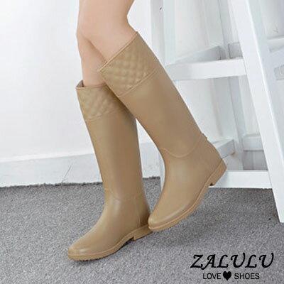 ZALULU愛鞋館 JK013 預購 防水菱格紋壓邊時尚磨砂面高筒雨靴-黑 / 紅棕36-40 3