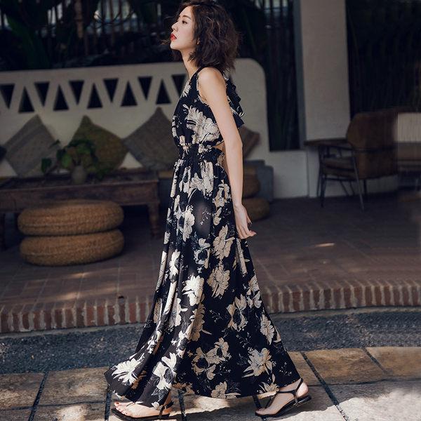 PSMall復古大擺連身裙露背吊帶沙灘裙渡假風長裙洋裝【T026】