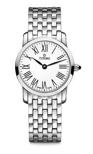 TITONI瑞士梅花錶纖薄系列TQ42918S-584簡約金屬時尚腕錶銀24mm