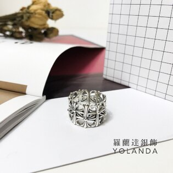 【羅蘭達銀飾】925純銀戒指。克羅心十字架經典造型。寬版開口戒。中性復古