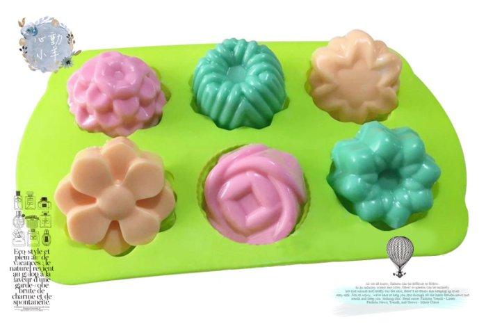 心動小羊^^6連模玫瑰蛋糕塔甜甜圈 巧克力模具 蛋糕模 手工皂 矽膠模具 製冰盒 果凍盒 皂模