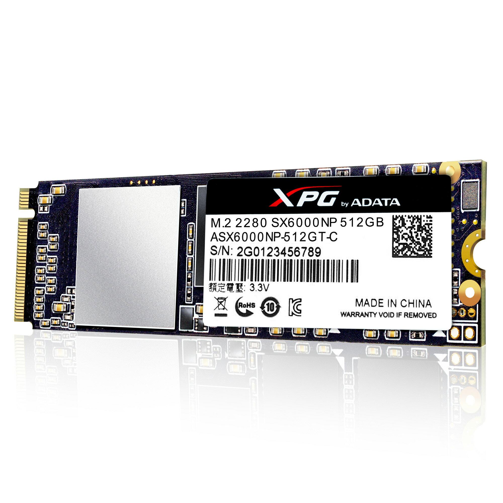 XPG SX6000 PCIe NVMe Gen3x2 M.2 2280 512GB SSD by ADATA with DIY XPG Heatsink 6