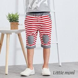 Little moni 條紋貼布五分褲-紅色