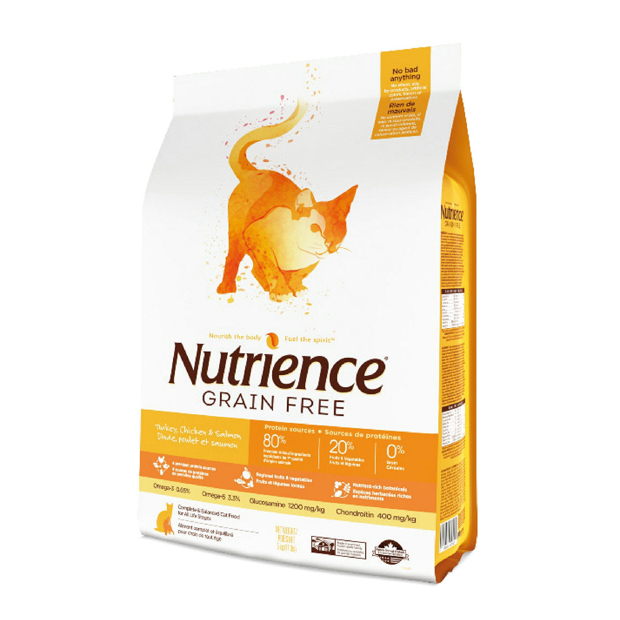 Nutrience 紐崔斯 無穀養生貓-雞肉+火雞+鯡魚1.13kg Grain Free無穀養生系列