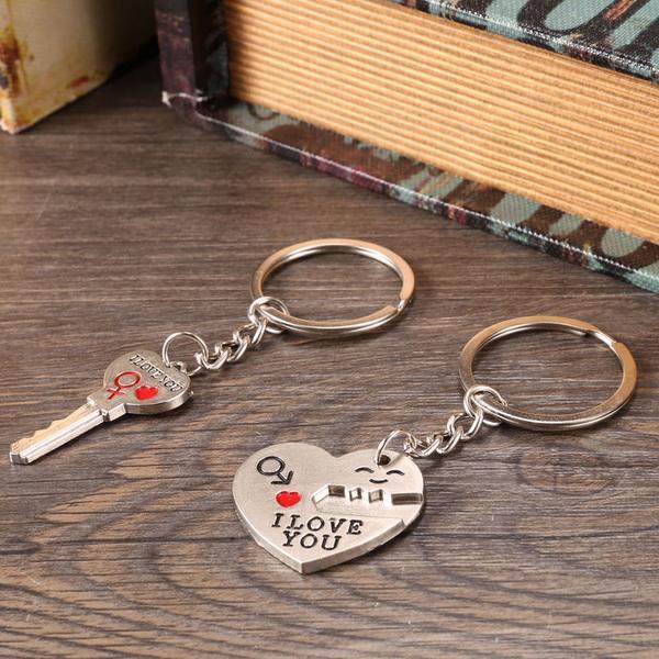 1 Pair Alloy Couple Keychain Valentine's day Gift Heart Shape Key Decor Sets 3