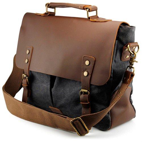 Men's Vintage Canvas Leather Satchel School Military Messenger Shoulder Bag Travel Bag - Gray 0