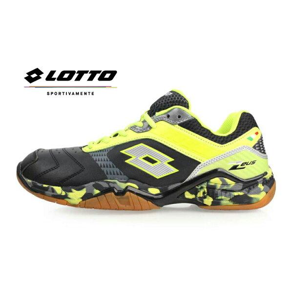 【巷子屋】義大利第一品牌-LOTTO樂得男款雷霆天神-宙斯強化支撐專業羽球鞋[5610]黑黃超值價$690