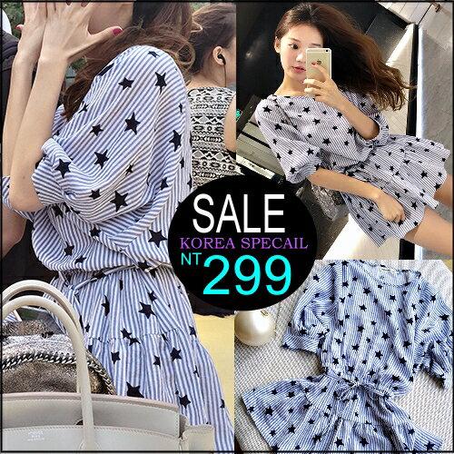 ☆克妹☆現貨+預購【ZT98327】Korea韓國名媛星星直紋腰帶傘擺小洋裝