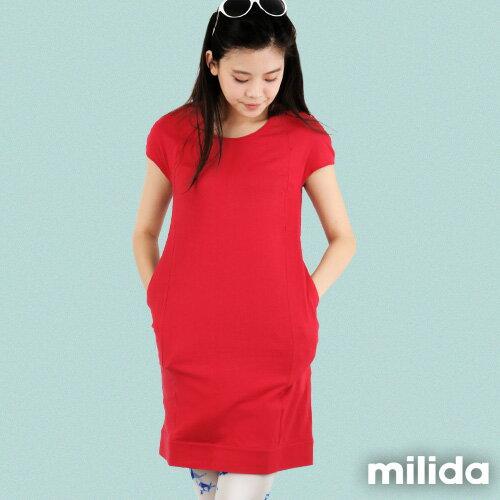 【Milida,全店七折免運】-早春商品-素色款-簡約休閒口袋洋裝 0